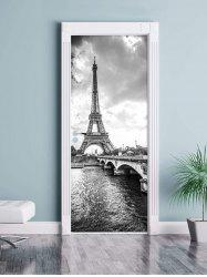 Eiffel Tower Print Door Art Stickers -
