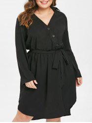 Button Detail Plus Size A Line Dress with Belt -