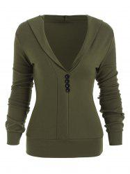 Hooded Button Long Sleeve Blouse -