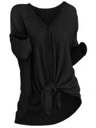 Knit Knotted Button Up Cardigan -