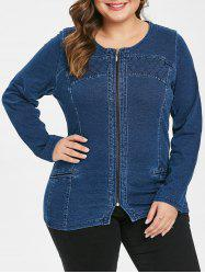 Plus Size Zipper Fly Denim Jacket -