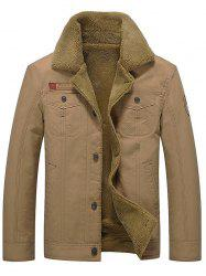 Badge Embellish Button Fly Faux Fur Jacket -