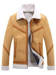 Zipper Faux Fur Turn-down Collar Jacket -
