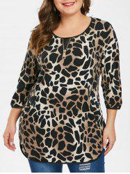 Plus Size Leopard Tee with Pockets -