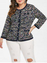 Plus Size Pockets Geometric Button Fly Jacket -