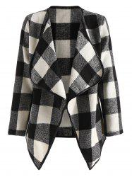 Drape Front Long Sleeve Plaid Jacket -