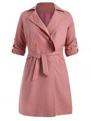 Knee Length Plus Size Trench Coat with Belt -