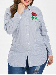 Plus Size Stripes Shirt with Floral Embroidery -