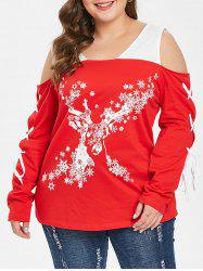 Christmas Snowflake Plus Size Lace Up T-shirt -