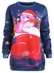 Christmas Print Long Sleeve Pullover Sweatshirt -