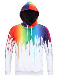 Colorful Painting Dripping Print Pouch Pocket Hoodie -