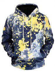 Splatter Painting Cloud Print Pouch Pocket Pullover Hoodie -