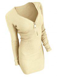 Half Zip Long Sleeve Bodycon Dress -