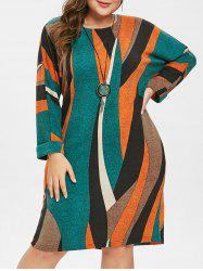 Plus Size Long Sleeves Pockets Striped Knitted Dress -