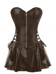 Strapless Plus Size Lace Up Corset with Mini Skirt -