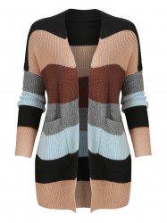 Color Block Knitted Cardigan with Front Pockets -