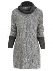 Contrast Cowl Neck Tunic Sweater -