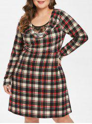 Plus Size Lace Insert Plaid Dress -