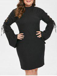 Plus Size Lace Up Sleeve Bodycon Dress -