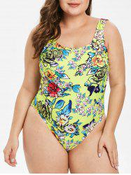 Padded Plus Size Floral Print Swimwear -