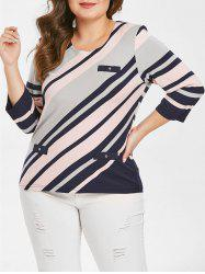 Plus Size Color Block Striped Tee -