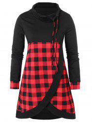 Drawstring Plus Size Plaid Panel Sweatshirt -