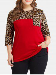 Leopard Print Pocket Plus Size T-shirt -