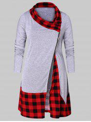 Plus Size Plaid Splicing Zip Fly T-shirt -