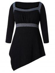 Plus Size Hit Color Draped High Low Tunic Sweater -