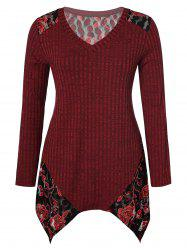 Plus Size V Neck Floral Splicing Handkerchief Sweater -