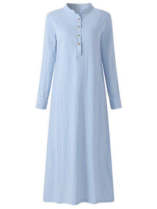Buy Long Sleeve Plus Size Button Detail Straight Dress