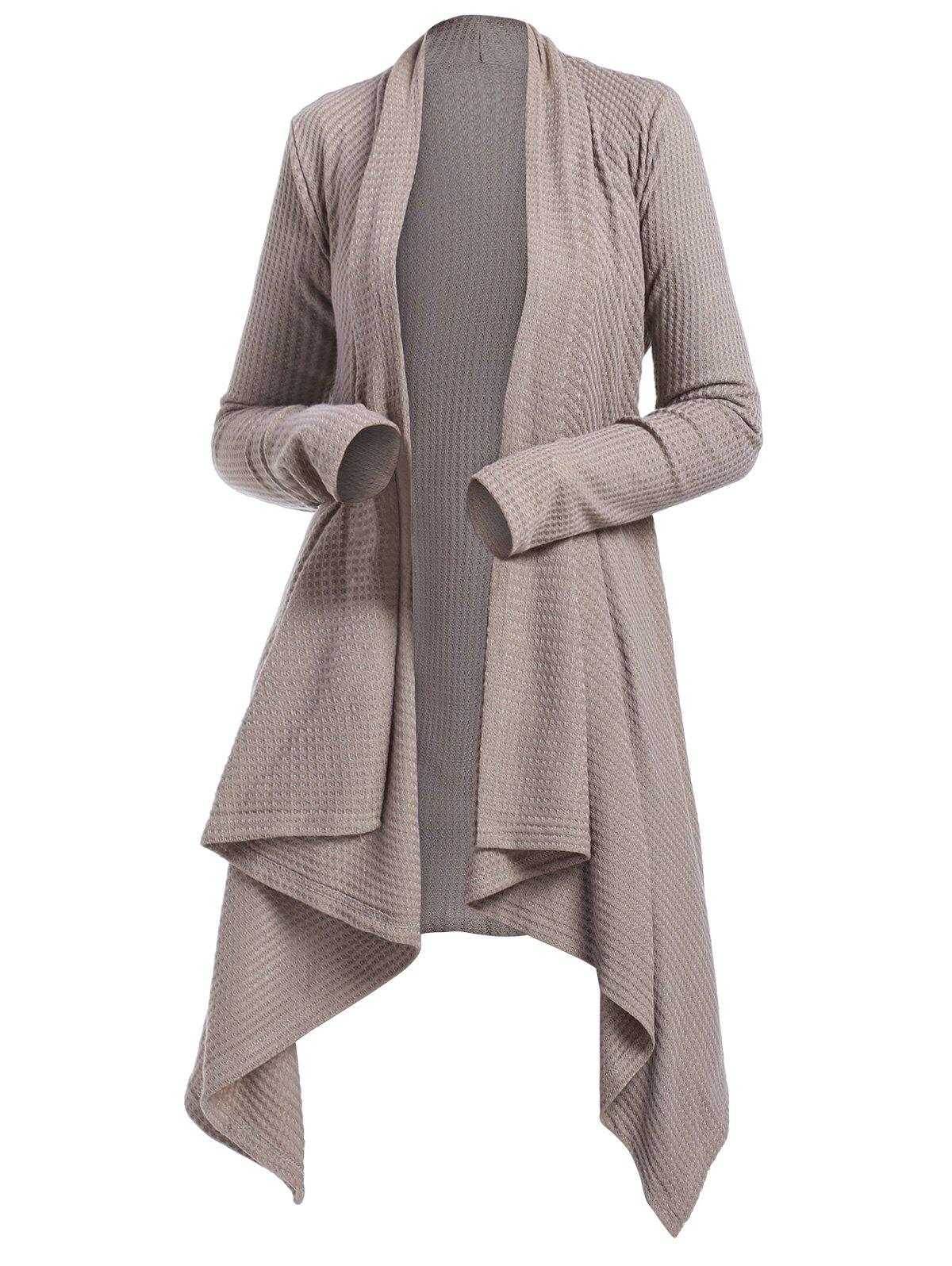 43d79798962 Belted Knitted Asymmetrical Cardigan