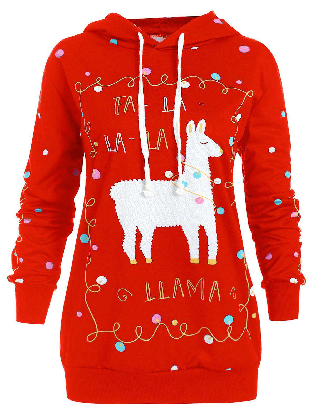 Discount Christmas Pony Pattern Plus Size Polka Dot Hoodie