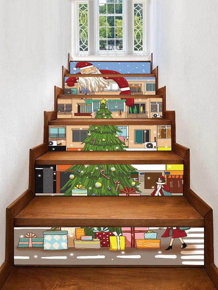 Chic Christmas Santa House Pattern Removable Stair Stickers