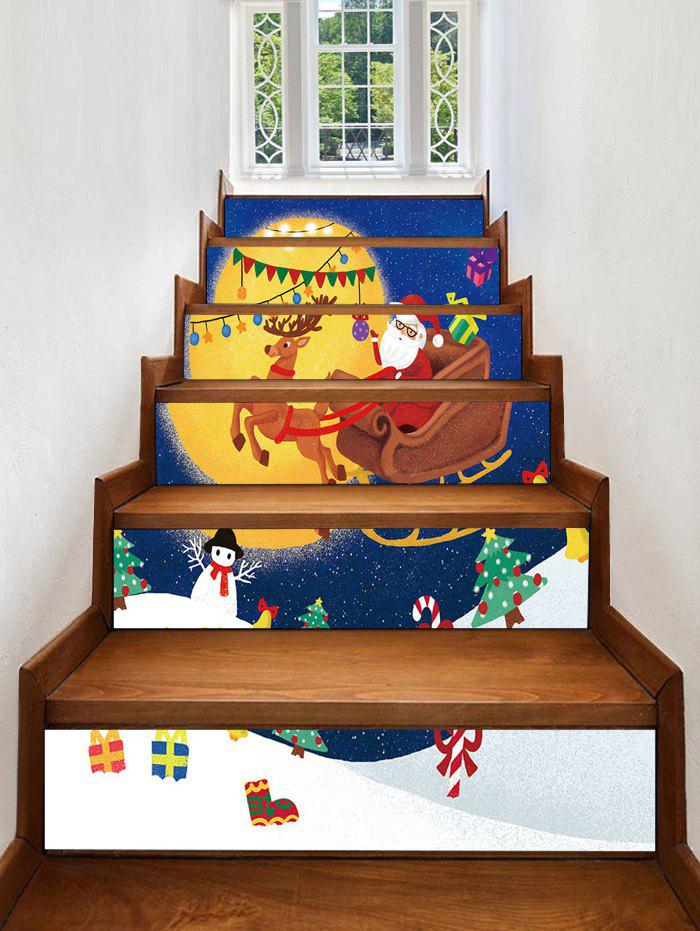 Unique Christmas Moon Sleigh Pattern Removable Stair Stickers