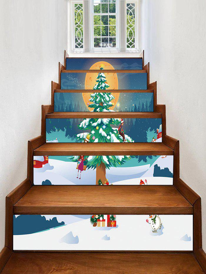 Outfits Christmas Tree Moon Pattern Removable Stair Stickers