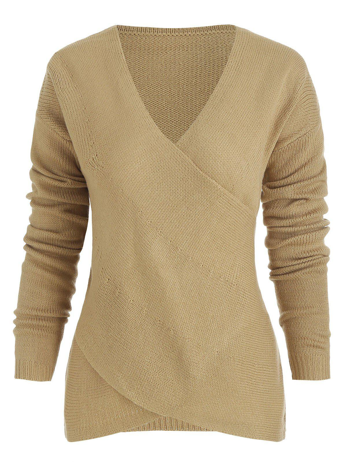 Latest Criss Cross Wrap V Neck Knitted Sweater