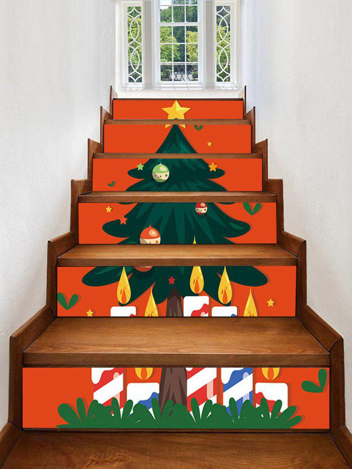 Chic Christmas Tree Candles Pattern Removable Stair Stickers
