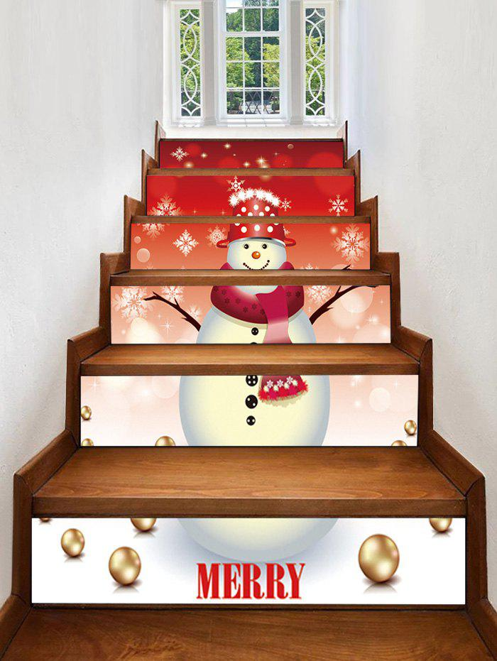 Best Christmas Snowman Pattern Removable Stair Stickers