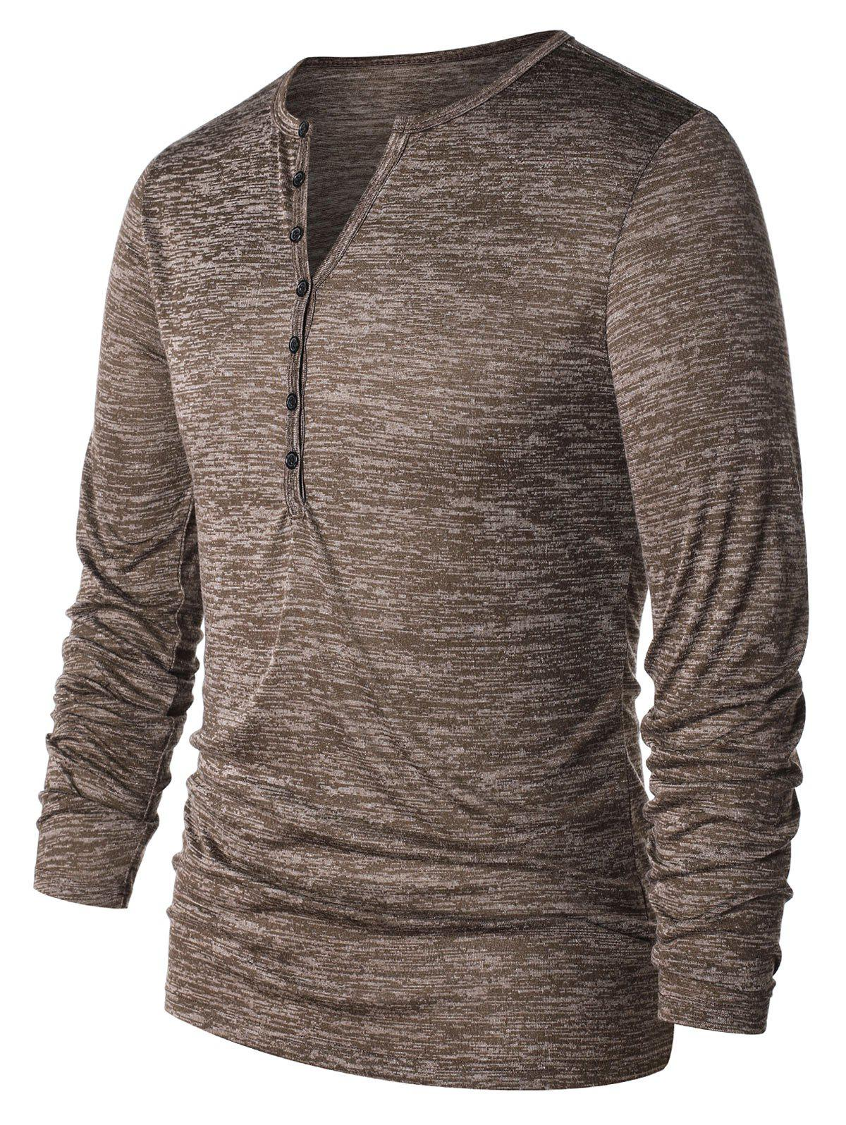 Affordable Long Sleeve Half Button Henley T-Shirt