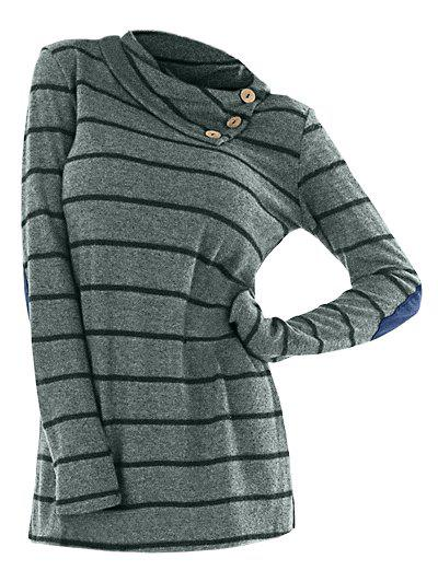 New Long Sleeve Striped Cowl Neck T-shirt