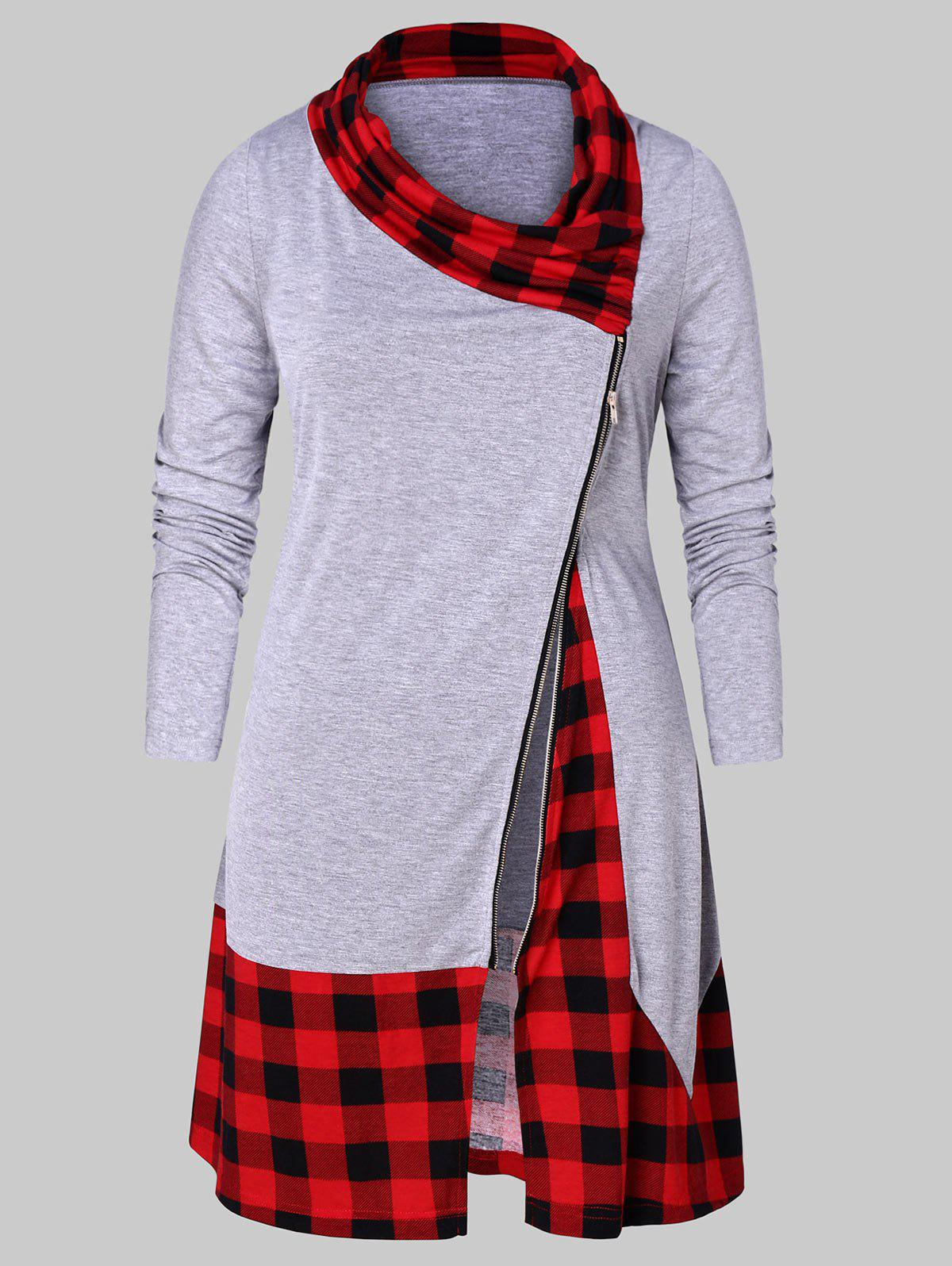 Best Plus Size Plaid Splicing Zip Fly T-shirt