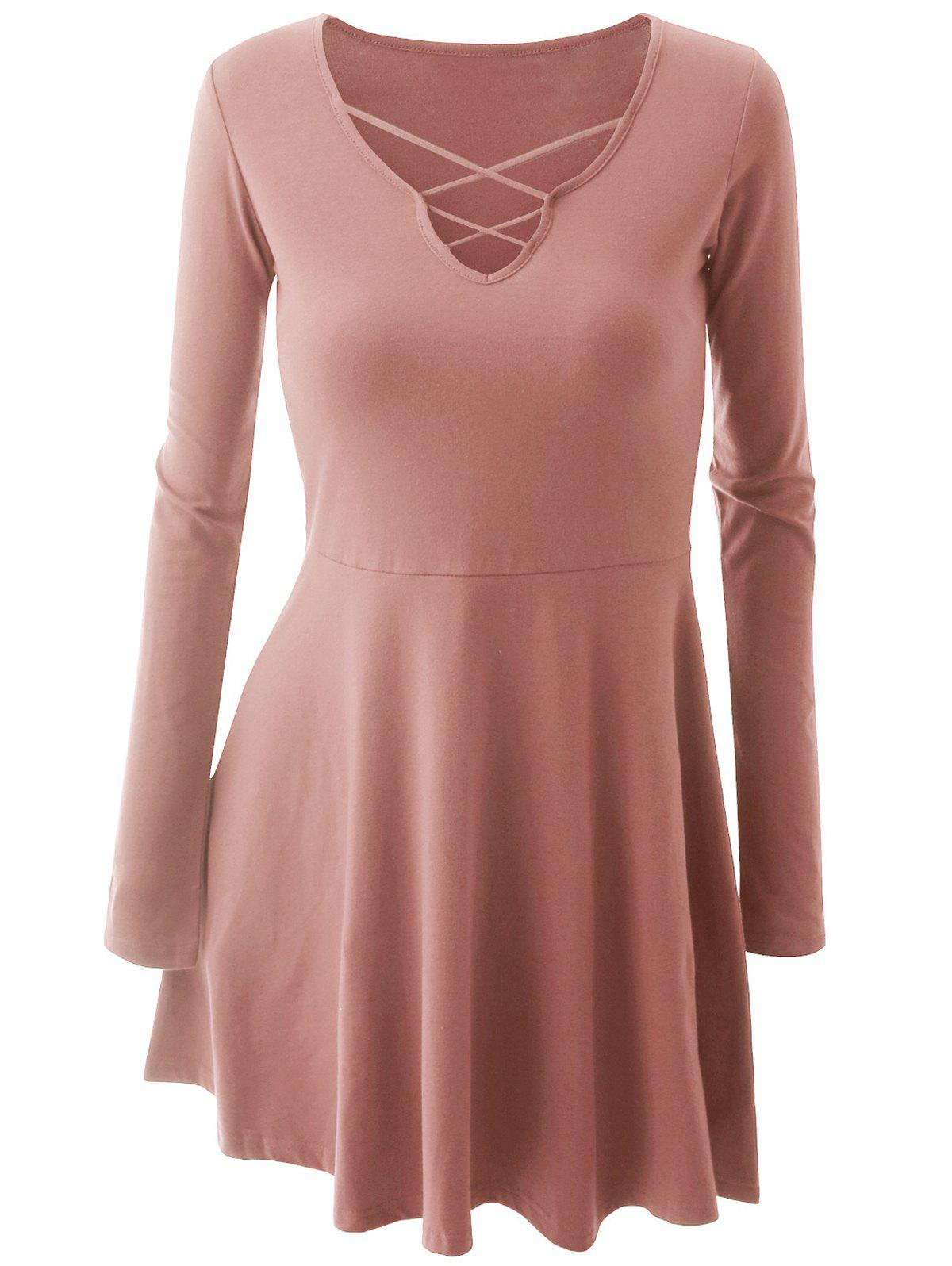 Shop Long Sleeve Criss-cross Skater Dress