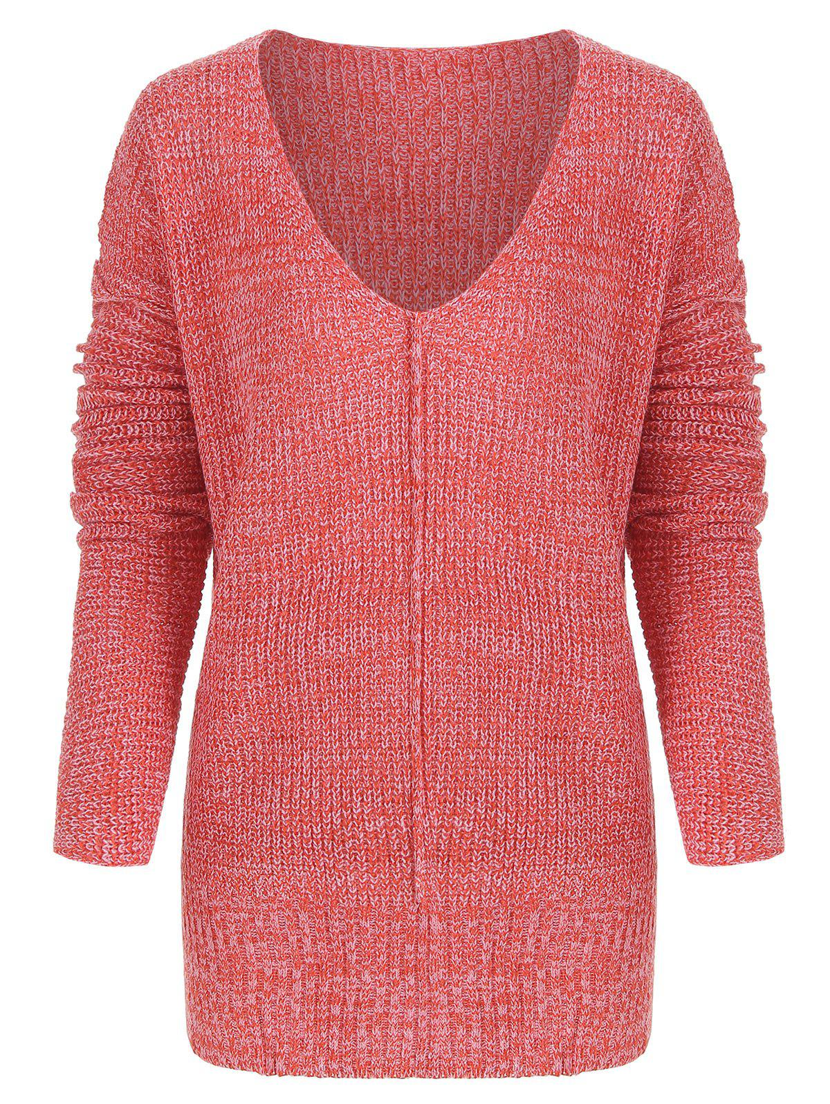 Chic V Neck Tunic Knitted Sweater