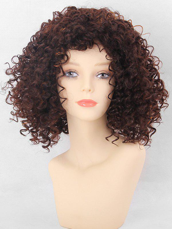 Inclined Bang Short Colormix Kinky Curly Synthetic Wig