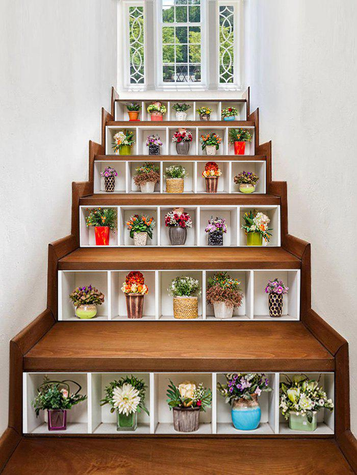 Shops Potted Flowers Pattern Removable Stair Stickers