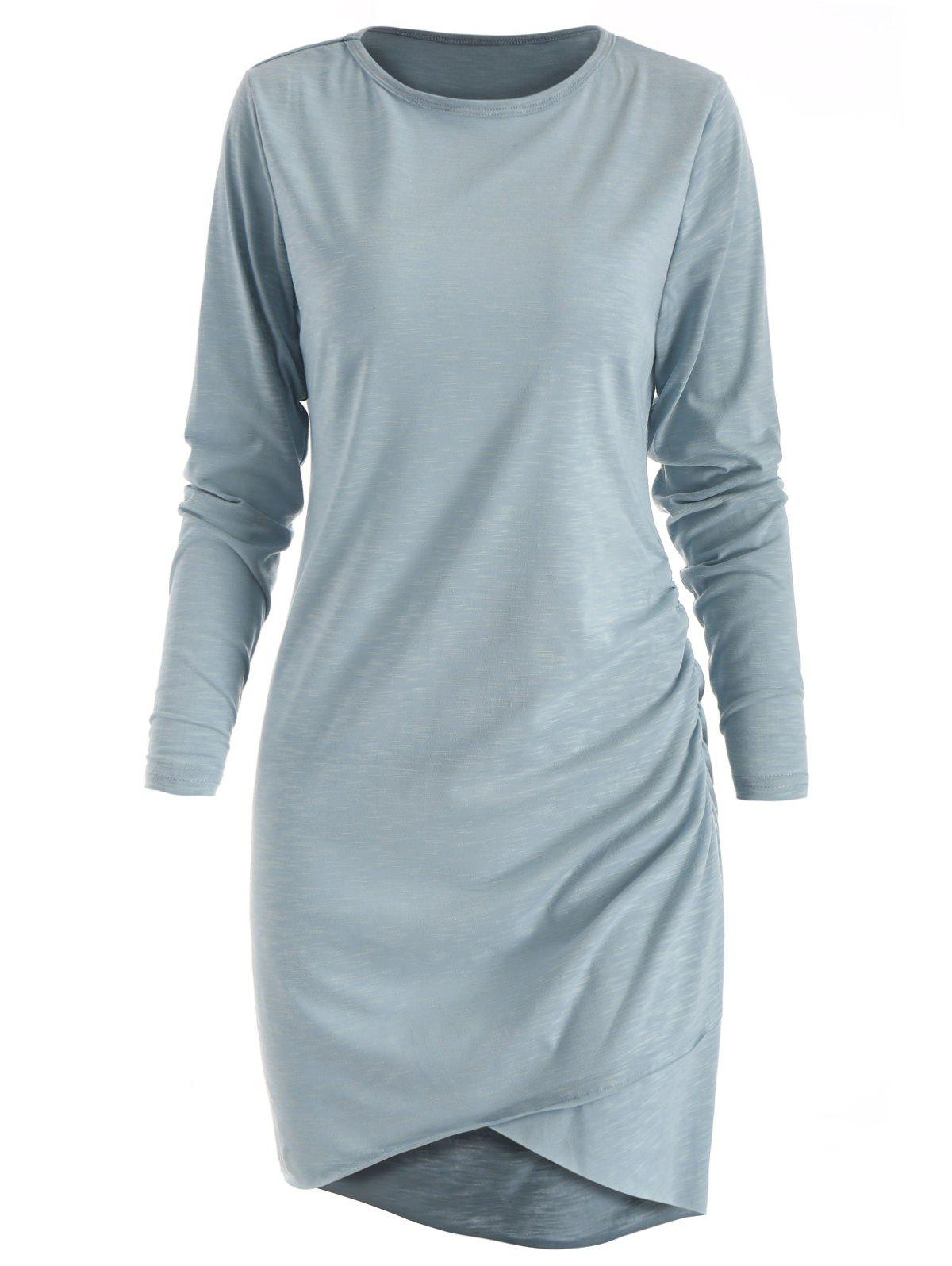 Latest Asymmetric Long Sleeve Ruched Dress