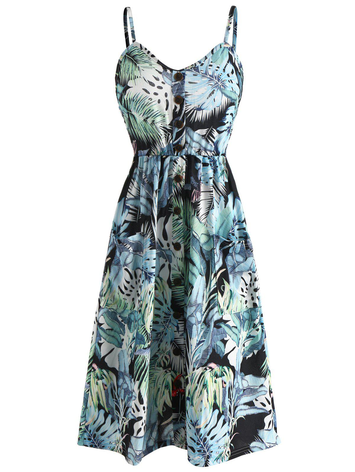 Trendy Leaves Print Spaghetti Strap High Waist Dress