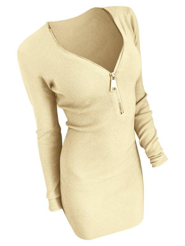 Chic Half Zip Long Sleeve Bodycon Dress
