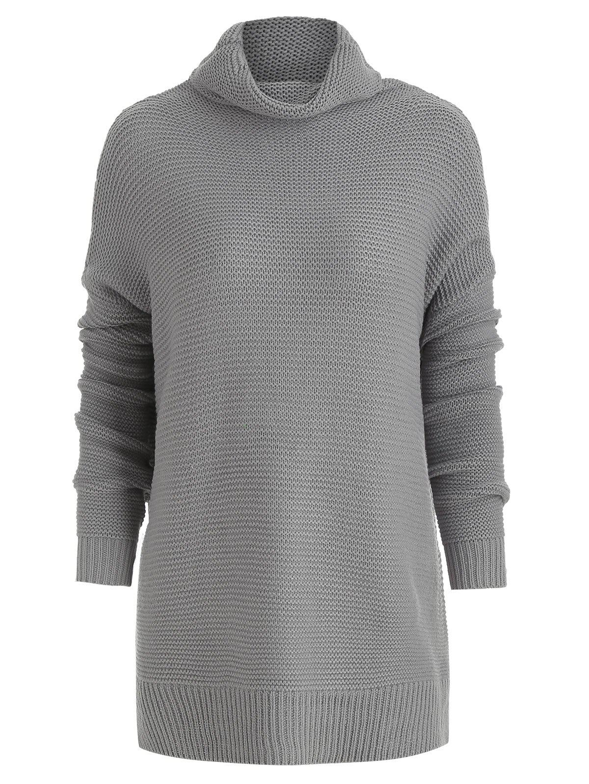 Fancy Drop Shoulder Tunic Turtleneck Sweater